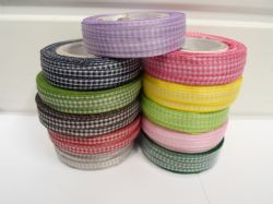 2 metres or full roll x 6mm Gingham Ribbon Double Sided check UK (1)